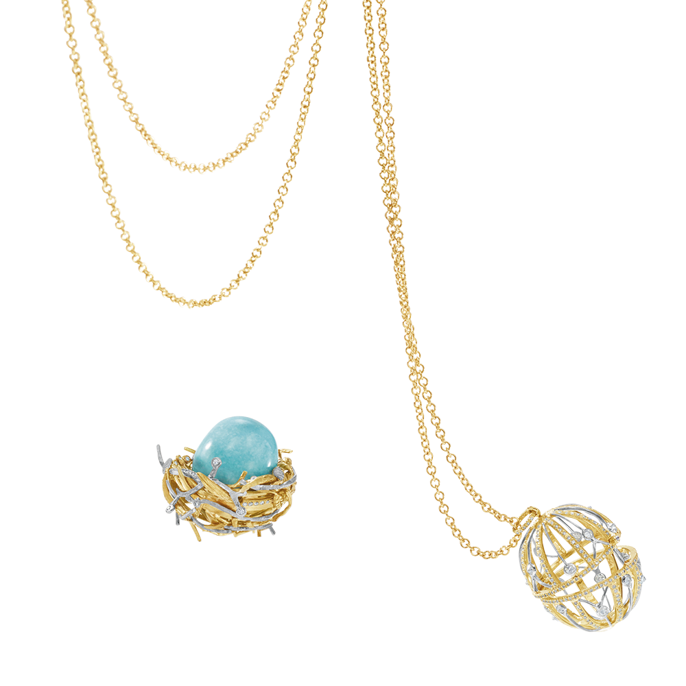 Turquoise Egg, Bird's Nest and Cage Pendant
