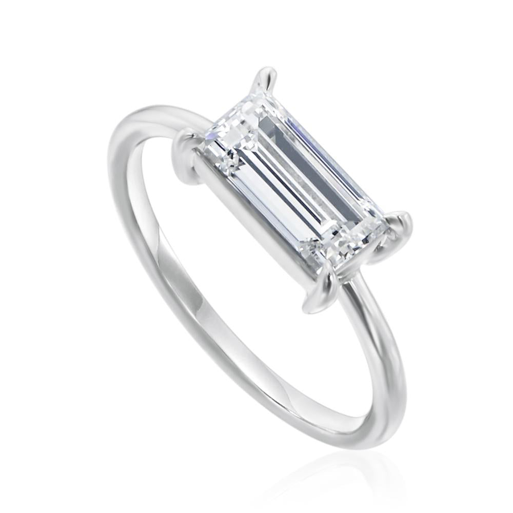 East-West Baguette Cut Diamond Solitaire Ring