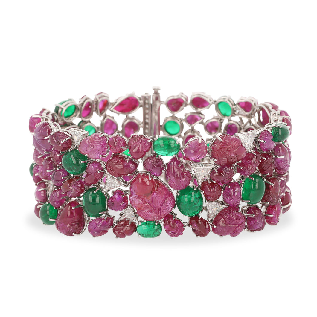 Platinum Carved Ruby Bracelet