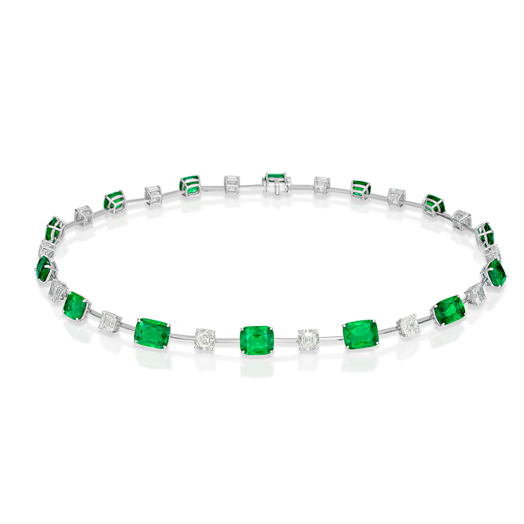 Afghanistan Emerald and Diamond Necklace