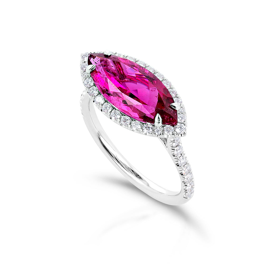 Rubellite Tourmaline and Diamond Ring