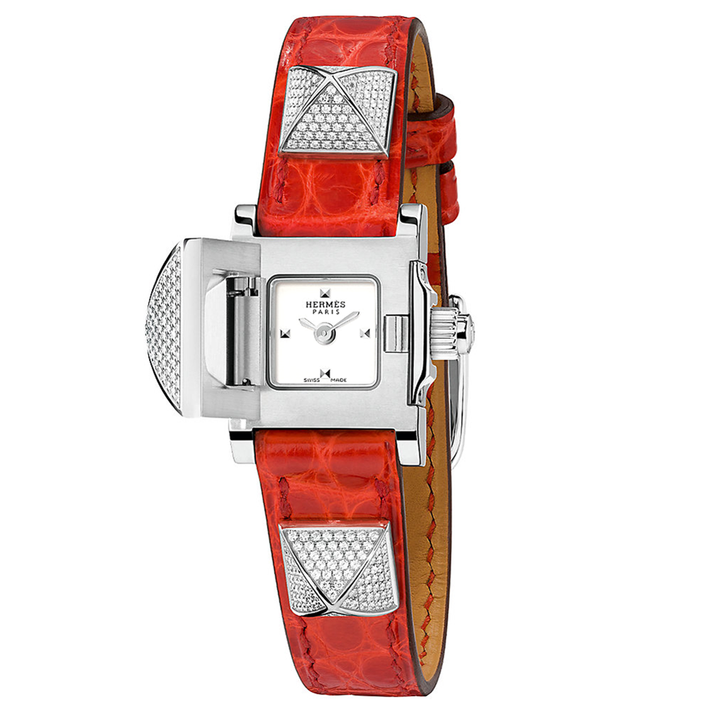 Hermes Mini Medor with Diamonds and Smooth Geranium Leather Strap