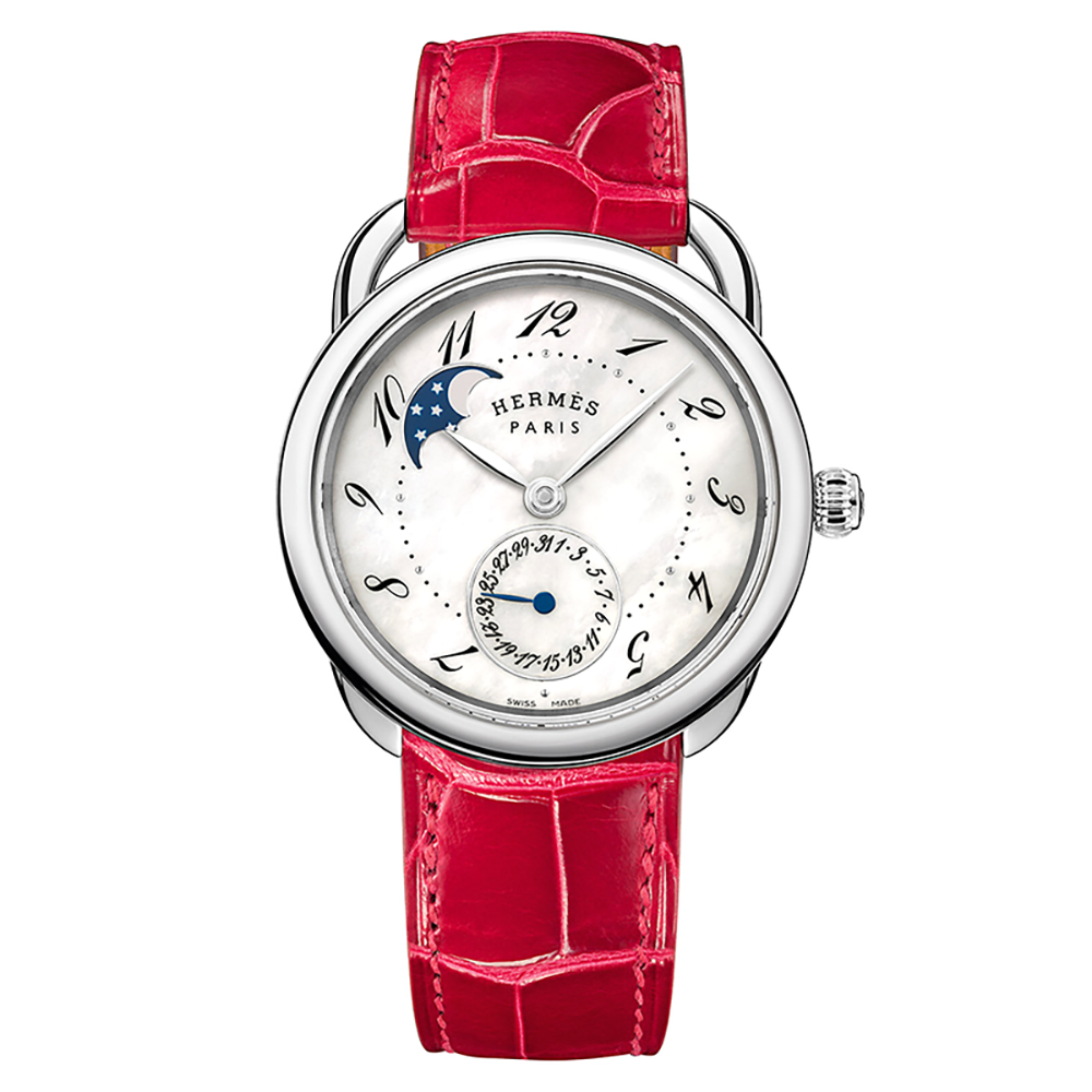 Hermes Arceau Petite Lune with Mother of Pearl Dial and Smooth Ember Leather Strap