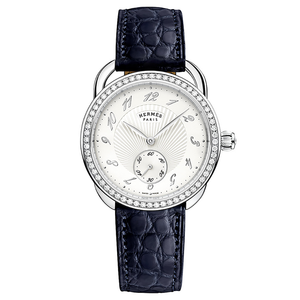 Hermes Arceau with Diamonds and Matte Indigo Leather Strap