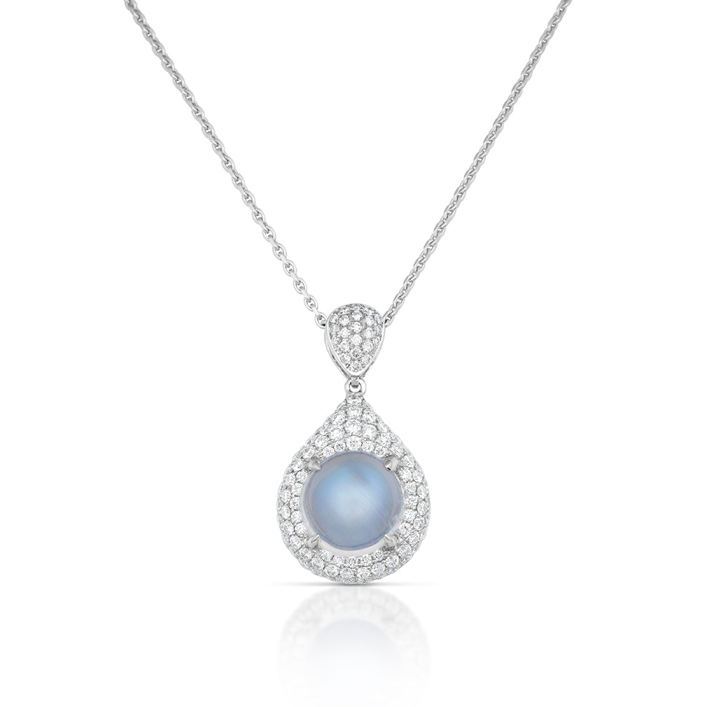 Moonstone and Diamond Pave Pendant