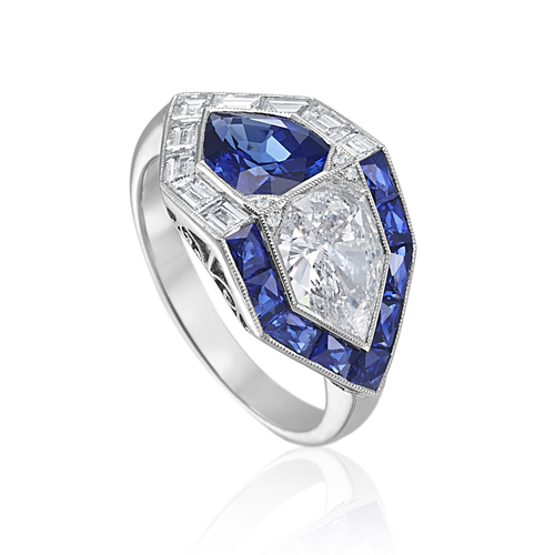 Geometric Sapphire and Diamond Ring