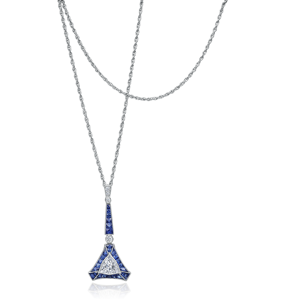 Geometric Sapphire and Diamond Pendant Necklace