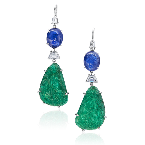 Unheated Sapphire and Carved Emerald Earrings
