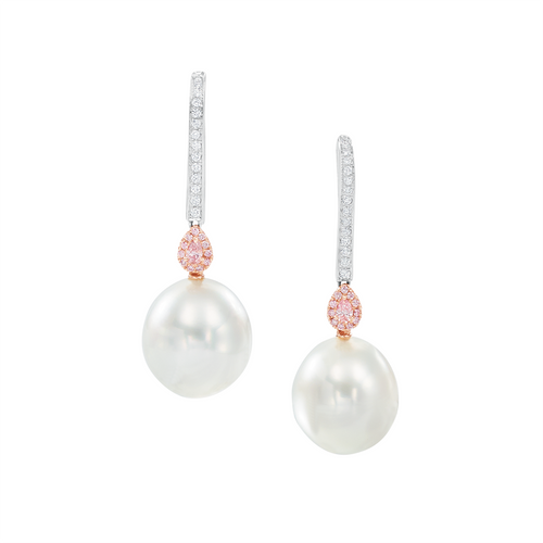 White South Sea Pearl and Pink Diamond Drop Earrings