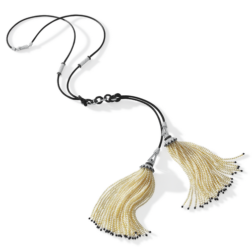 Pearl Double Tassel Sautoir with Onyx and Diamonds