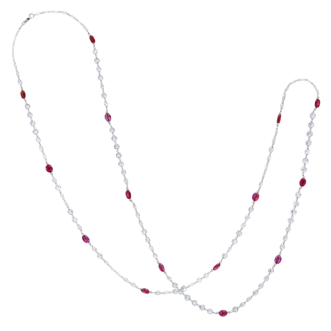 Diamond and Ruby Beaded Necklace