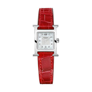 Hermes Heure H Mini with Diamonds and Red Leather Strap