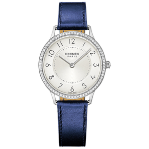 Hermes Slim d'Hermes with Diamonds and Matte Blue Calfskin Strap