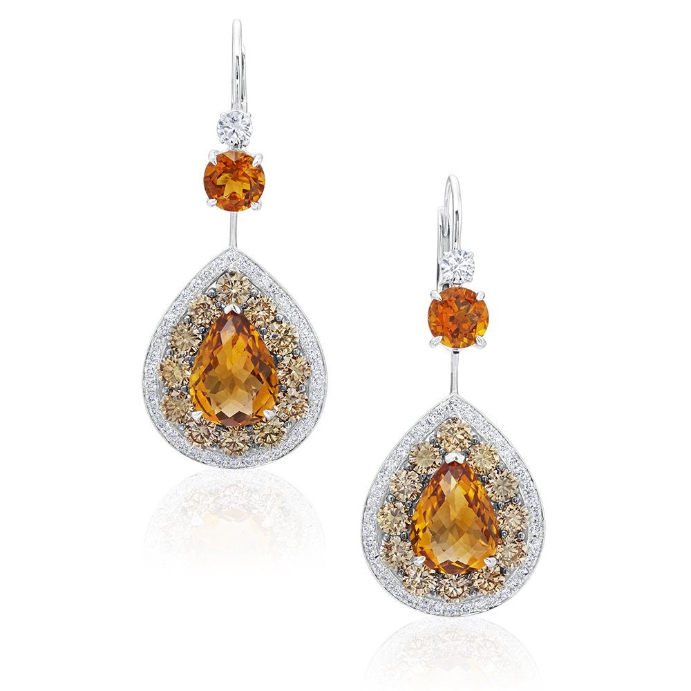Citrine and Champagne Diamond Drops