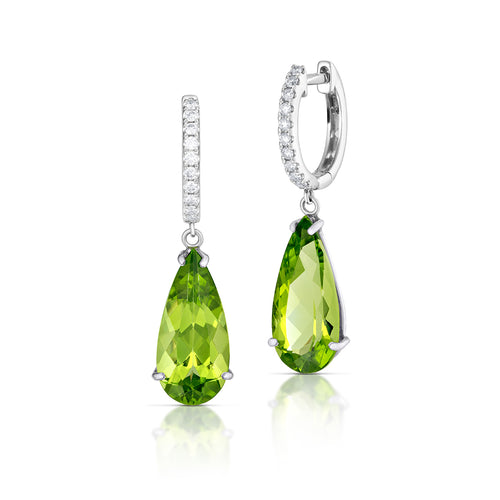 Peridot Huggie Drop Earrings