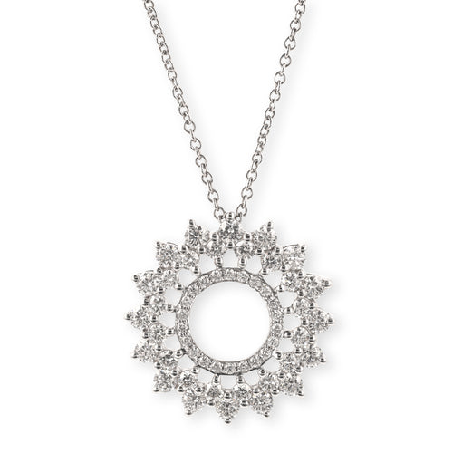 Geometric Diamond Circle Pendant with Chain