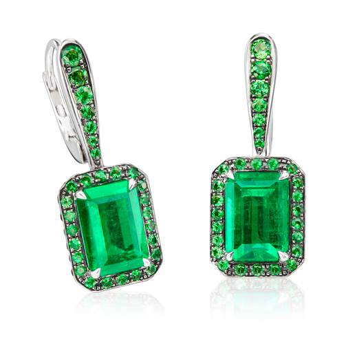 Emerald and Tsavorite Drop Earrings