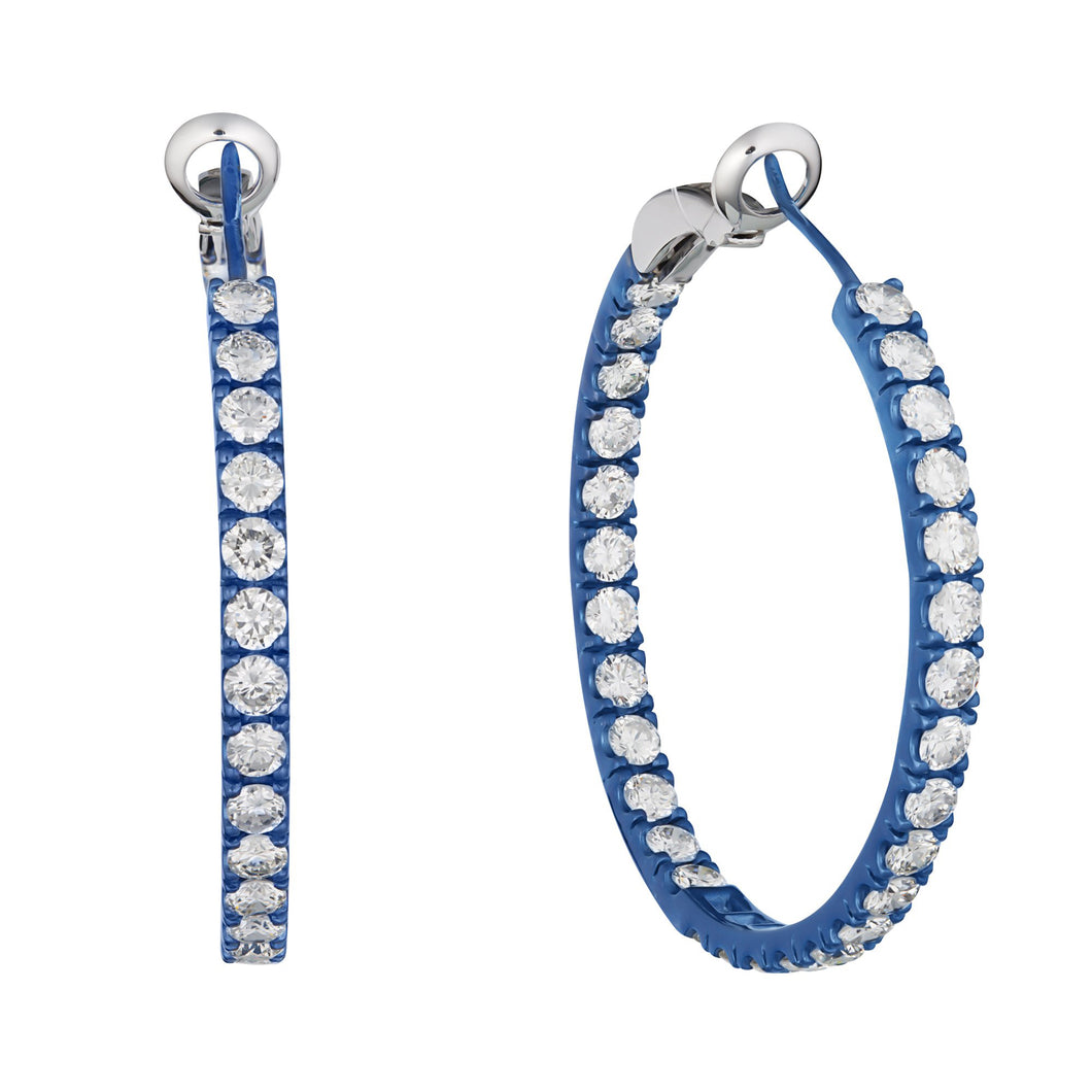 Blue Titanium Diamond Hoop Earrings