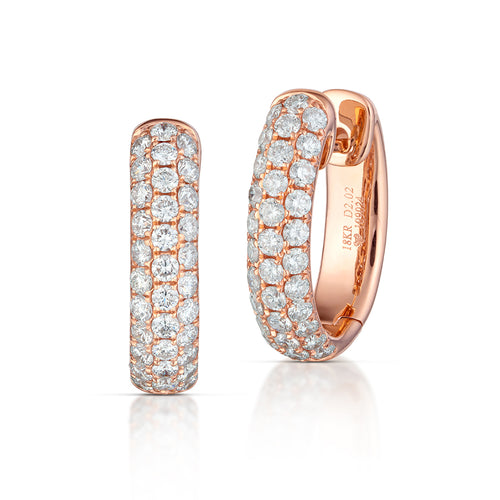 Diamond Rose Gold Huggie Hoops