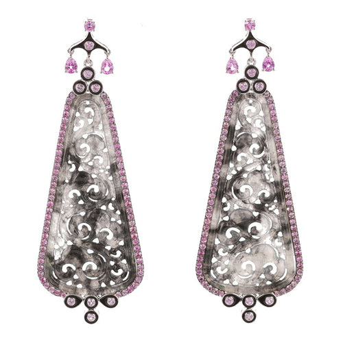 Carved Jade and Pink Sapphire Earrings