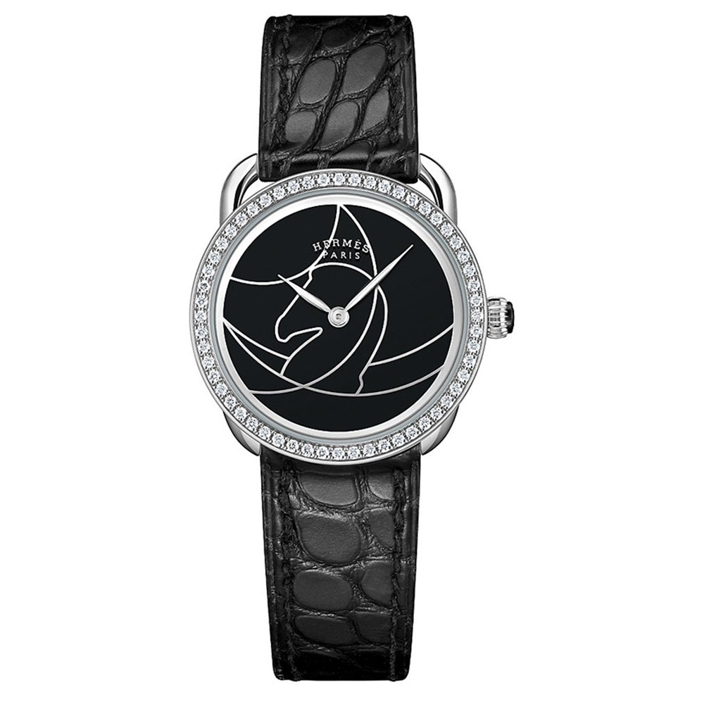 Hermes Arceau Cavales Equestrian with Diamonds and Black Leather Strap