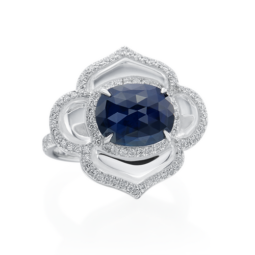 Sapphire, Rock Crystal and Diamond Flower Ring