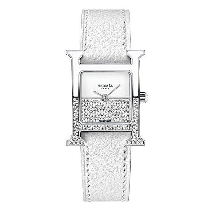 Hermes Heure H PM with White Strap
