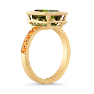 Green Tourmaline and Orange Sapphire Ring
