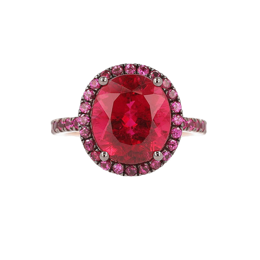 Rubellite Tourmaline and Pink Spinel Ring