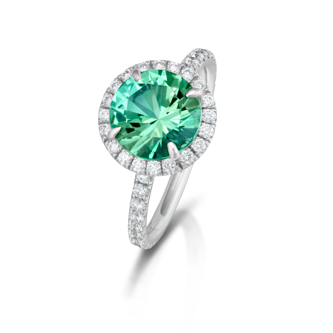 Mint Tourmaline White Gold Halo Ring