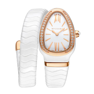 Bulgari Serpenti Spiga White Ceramic and 18kt Rose Gold