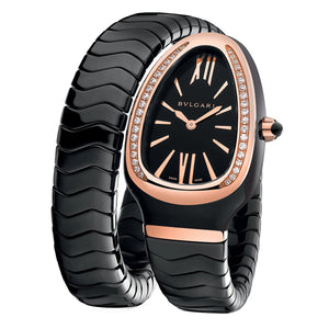 Bulgari Serpenti Spiga Black Ceramic and 18kt Rose Gold