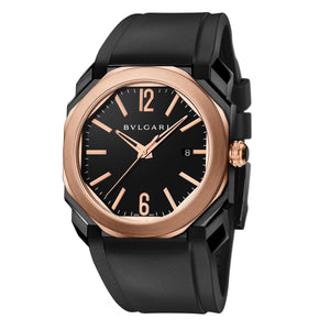 Bulgari Octo Black Carbon Steel and 18kt Rose Gold