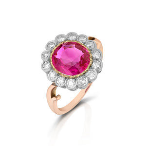 Antique Ruby Halo Ring
