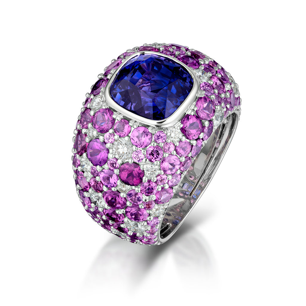 Violet Sapphire and Purple Garnet Ring