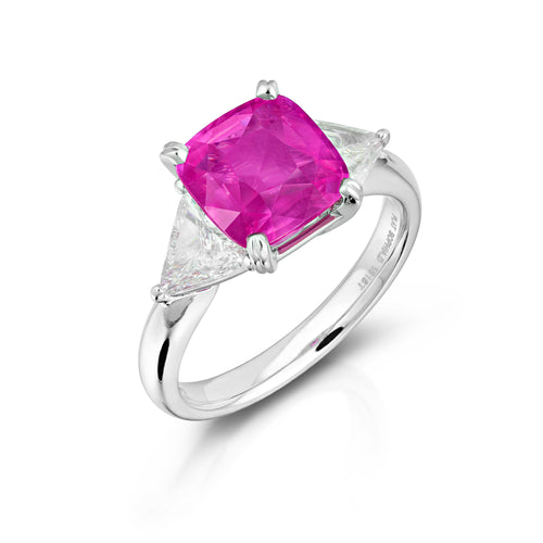 Three Stone Mozambique Ruby Ring