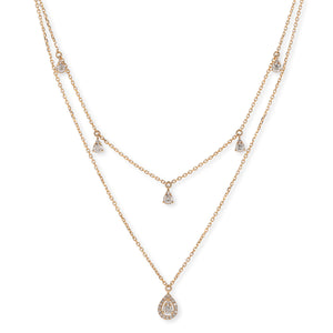 Double Layer Diamond Drop Necklace