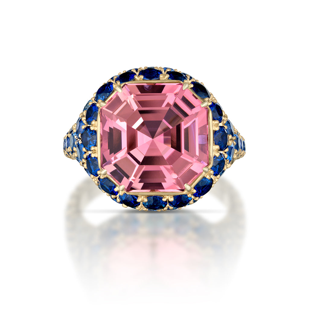 Pink Tourmaline and Blue Sapphire Ring