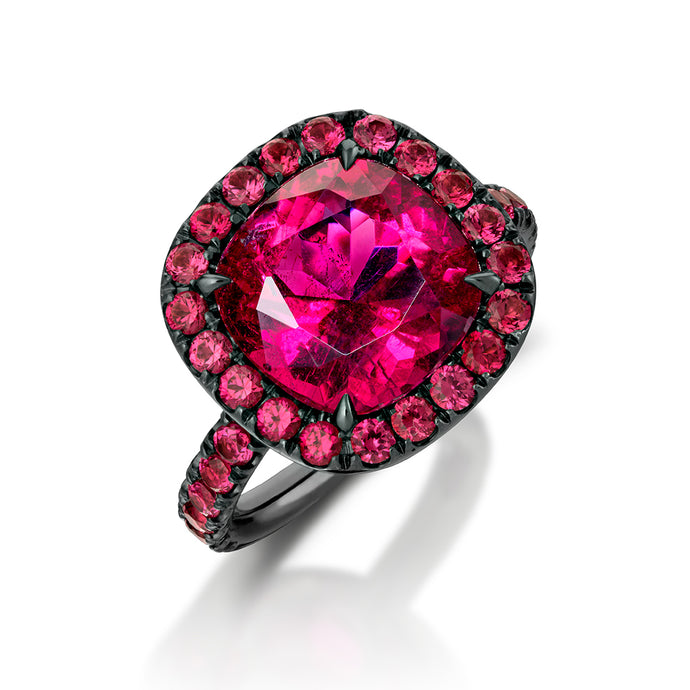 Rubellite Tourmaline and Red Spinel Ring