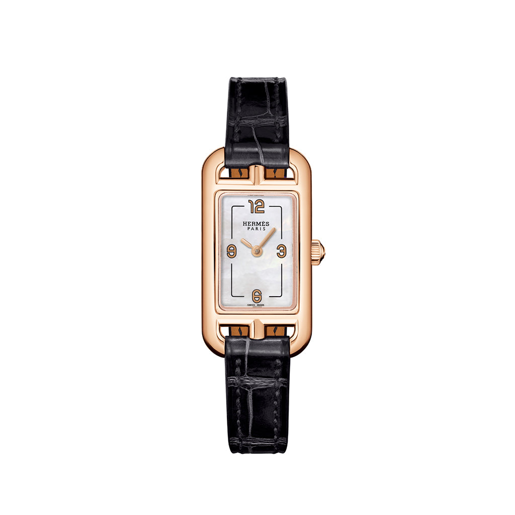 Hermes Nantucket in Rose Gold with Black Strap