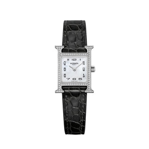 Hermes Heuer H in Stainless Steel with Diamonds and Black Strap