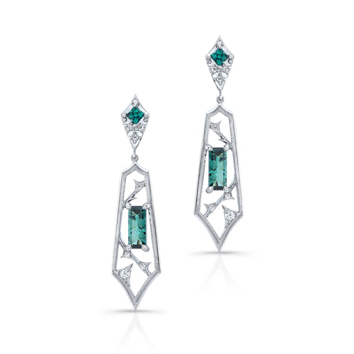 Indicolite Tourmaline Drop Earrings