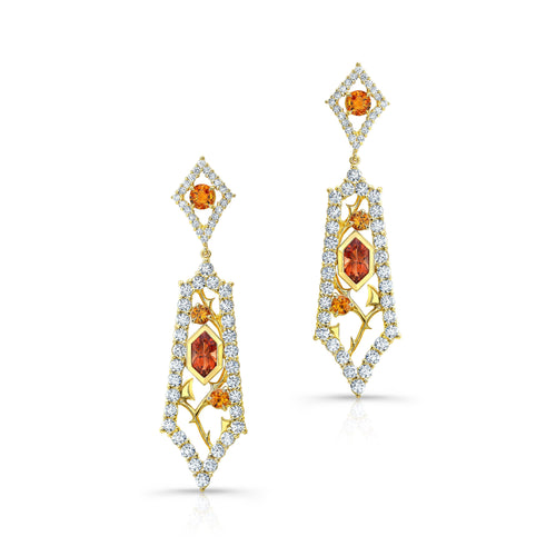 Oregon Sunstone and Orange Sapphire Drop Earrings
