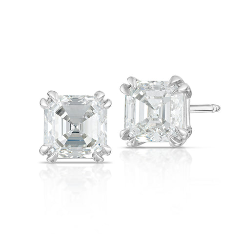 Asscher Cut Diamond Stud Earrings 2.25CTW