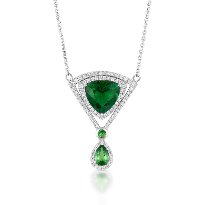 Green Tourmaline and Tsavorite Garnet Necklace