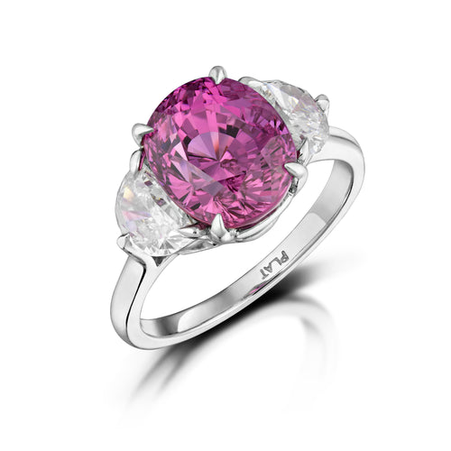 Pink Sapphire and Diamond Ring