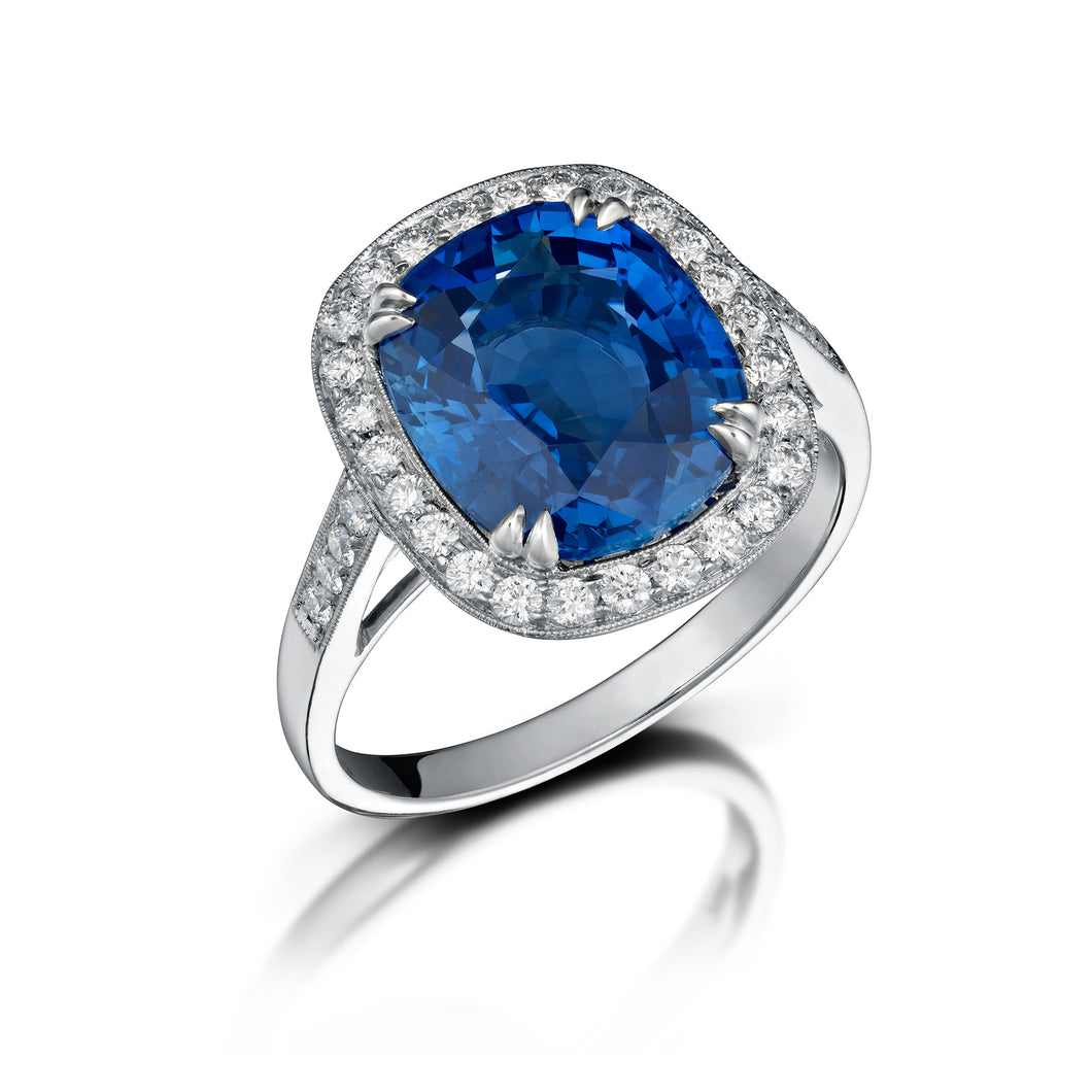 Ceylon Sapphire and Diamond Halo Ring