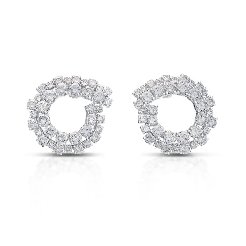 Open Circle Diamond Earrings