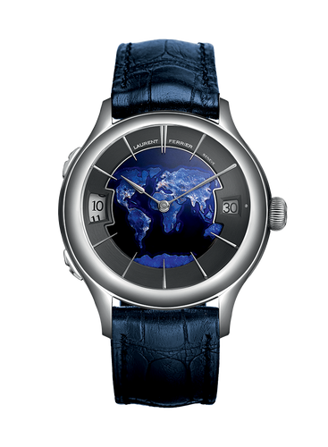 Laurent Ferrier Galet Classic Traveller in 18kt White Gold with Globe Dial