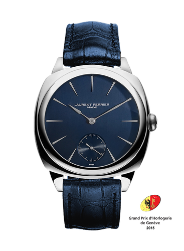 Laurent Ferrier Galet Square Micro-Rotor in Stainless Steel with Navy Dial